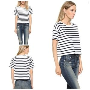 MADEWELL Lewis Navy Striped Crop Tee XS